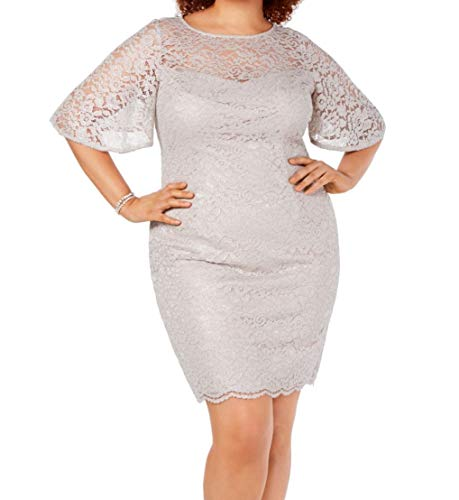Adrianna Papell Women's Plus Size Metallic Lace Sheath Dress with Flutter Sleeves, ICY Lilac, 16 (Apparel)