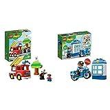 Lego Duplo 10901 Autopompa, Con Luce Blu E Sirena, Idea Regalo Per Bambini Dai 2 Anni Per Diventare Un Piccolo Eroe Ed Aiutare I Pompieri & Duplo, Moto Della Polizia