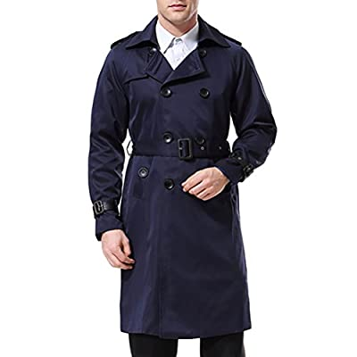 Men's Double Breasted Trenchcoat Stylish Slim Fit Mid Long Belted Windbreaker Navy from