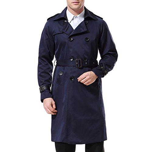 AOWOFS Herren Trenchcoat Lang Slim Fit Zweireihiger Mantel im Militärischen Stil Trench Coat mit Gürtel Herbst Frühling