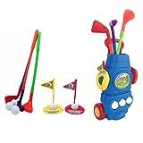 Mecotech Golf Enfant - Jeu de Plage et de Sable - Ensemble de Golf Jeu de Golf Mini Golf Extérieur Jardin pour Enfants avec 3 Golf Clubs, 3 Balls, 2 Trous, 2 Golf Drapeau, 1 Golf Chariot (Bleu)