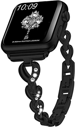 SaNgaiMEi Banda Reemplazable para Apple Watch Correa 38mm 40mm Metal Iwatch Correa Series 5 4 3 2 1 Negro