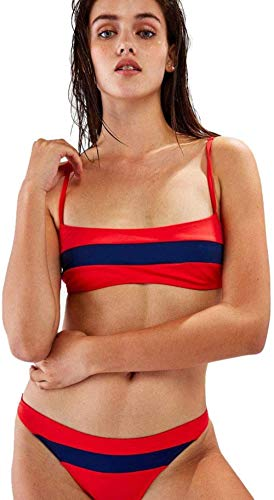 Women's split zwembroek, sexy triangle bikini Beach pool tweedelig badpak, Rood, L