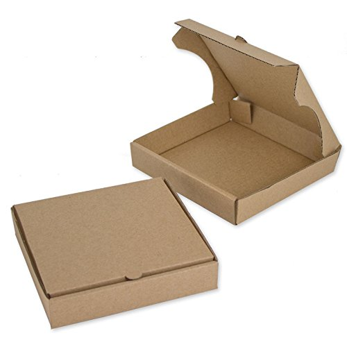"5"" Kraft Mini Pizza Boxes (Pack of 8) - Chica and Jo Brand - Square Cardboard Boxes 5 inch - Includes 4""x6"" Plastic Treat Bags"