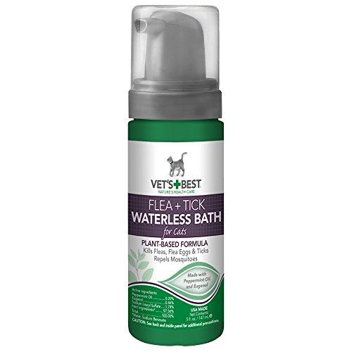 Vet's Best Flea and Tick Waterless Bath Foam Dry Shampoo for Cats, 5 oz, USA Made