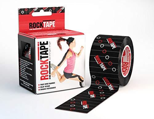 RockTape Rxblack RockTapeRx Kinesiologie-Tape, sanft klebend und empfindliche Haut, ideal für Reha-und Haltungstraining, 5 cm x 5 m, ungeschnittene Rolle, schwarz, Uncut Roll-5cm Wide