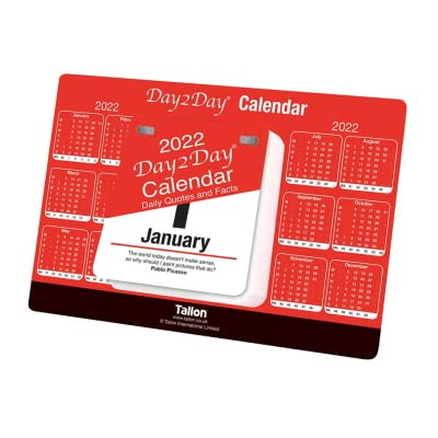 2022 Day to Day Desk Top Stand Up Tear Off Block Red & Black Commercial DTV Calendar – Daily Quotes & Facts