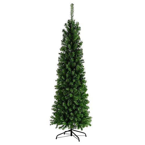 7.5ft Hinged Fir Pencil Artificial Christmas Tree for Home, Office, Party Decoration with Metal Foldable 1075 Branch Tips Easy Assembly (7.5ft, Green)