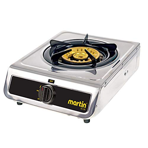 Martin SG-128 Propane Hot Plate Cooking Stove - Cooktop 12,800 BTU Powered Brass Burner with Pressure Regulator