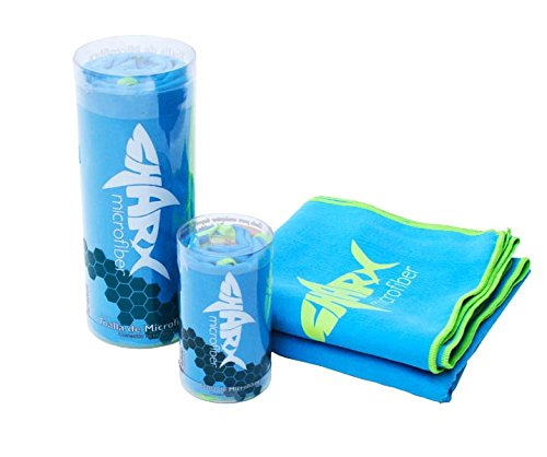 SHARX Toalla de Microfibra Deportiva Grande 80 x 160cm Color Azul Claro + Toalla Chica de Regalo (Colores Variados)
