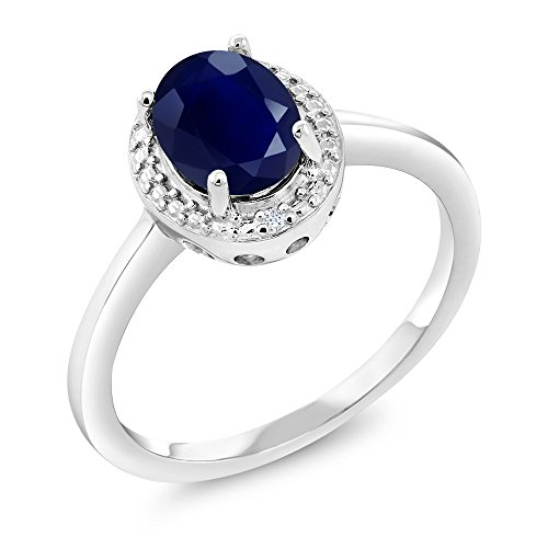 925 Sterling Silver Blue Sapphire and White Diamond Women Engagement Ring by Gem Stone King