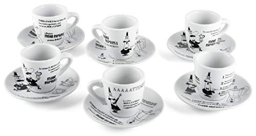 Bialetti Set 6 tazzine caffe'con Tazza e piattino Decoro OMINO CAROSELLO, (Y0TZ037)