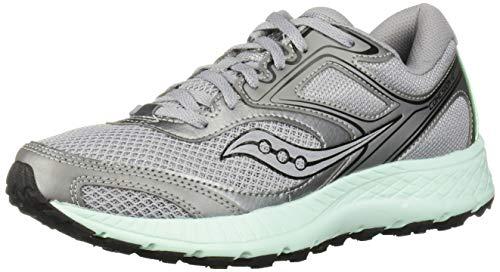 Saucony Women's VERSAFOAM Cohesion TR12 Road Running Shoe, Grey/Aqua, 6 M US