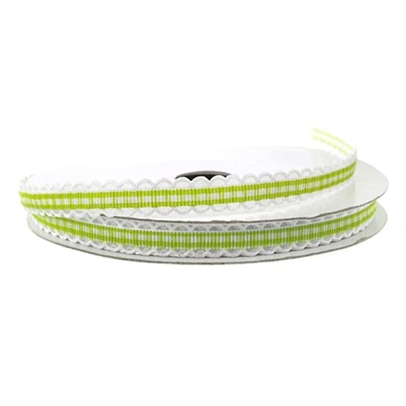 Homeford Firefly Imports Gingham Polyester Ribbon Scalloped-Edge, 3/8-Inch, 25 Yards, Apple Green, 3/8