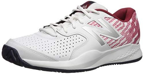 New Balance Men's 696 V3 Hard Court Tennis Shoe, White/Scarlet, 8 W US
