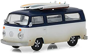 1973 Volkswagen Type 2 (T2B) Van with Surf Boards White and Blue Top Hobby Exclusive 1/64 Diecast Model Car by Greenlight 29956
