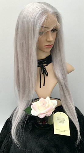 Perruque de luxe à dentelle complète 61 cm – Blond cendré argenté 100 % cheveux humains – Densité de 180 %