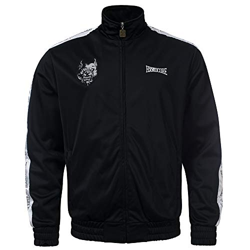 100% Hardcore Trainingsjacke Branded, Black Techno Gabber Sportjacket reflective Logo-Stripes (S)