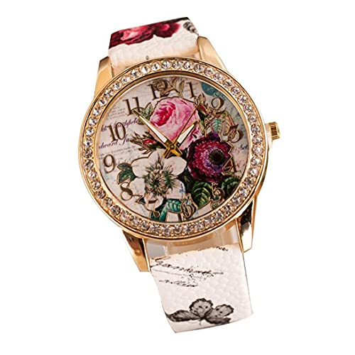 Mujeres analógico de Cuarzo Relojes Casual clásico cristalino del Marco Relojes de Pulsera de Cuero Multi usos Banda Reloj - Blanco (Incluye batería)