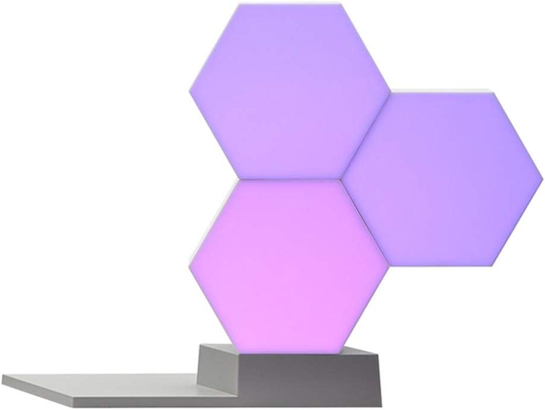 SHELLTB DIY Quantum Lights Buntes Licht Kreative Geometrie Montage LED Nachtlicht Smart RGB APP Control für Alexa Google Assistant Control,3pcs