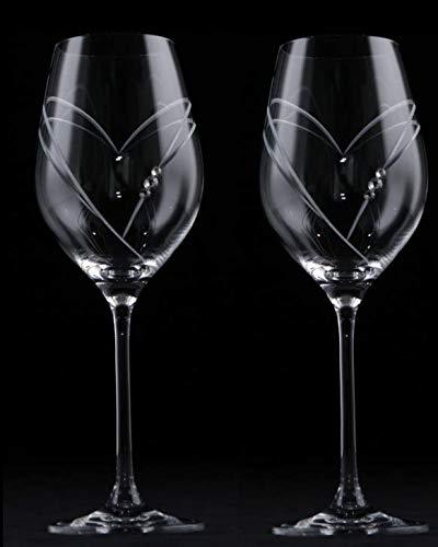 Rojo Vino Espumoso Corazón Cristal Cortado a Mano decorado con