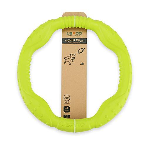LaRoo Juguete Frisbee para Perros, Caucho Natural Disco de Lanzamiento Duradero para Perros Fuertes para Perros Pequeños Medianos y Deporte Ejercicio Actividad y Juegos al Aire Libre (30cm Verde)