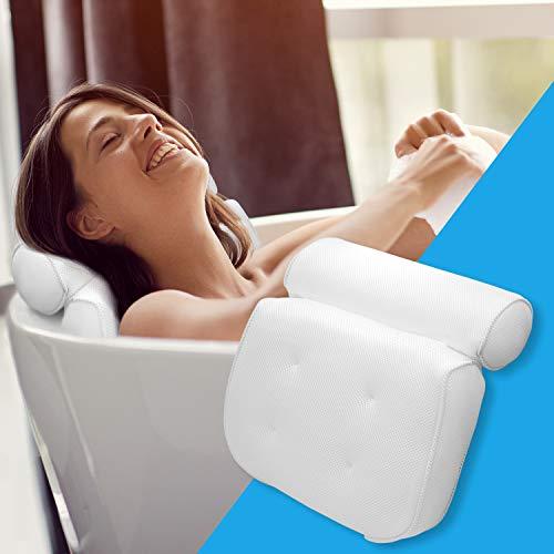 LADICO ® Badewannenkissen - Mit praktischem Haken zum Aufhängen Badewanne & Spa-Kissen - Innovatives geruchsneutrales Material - Zuverlässiger Halt durch Saugnäpfe und höchster Komfort