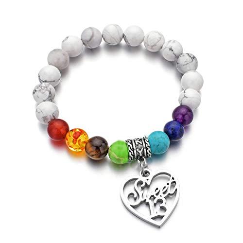 Birthday Bracelet 7 Chakra Beads Stretch Healing Bracelet 10th 12th 13th 16th 18th 21th 30th 40th 50th 60th (13th birthday gift)