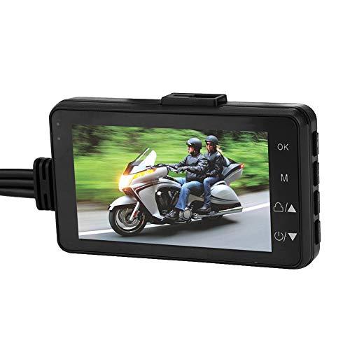 Keenso Motorrad-Aufnahmekamera-System, 720p, 7,6 cm, HD, Spiegel-Dashcam, wasserdicht, 120 ° Weitwinkel, Dual-Objektiv, DVR, Fahrvideo-Recorder, elektrisch/Fahrrad DVR