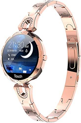 Reloj inteligente resistente al agua con dispositivo de reloj deportivo con cristal templado anticaída y podómetro de fitness, recordatorio de seguimiento del sueño compatible con Ios-Gold