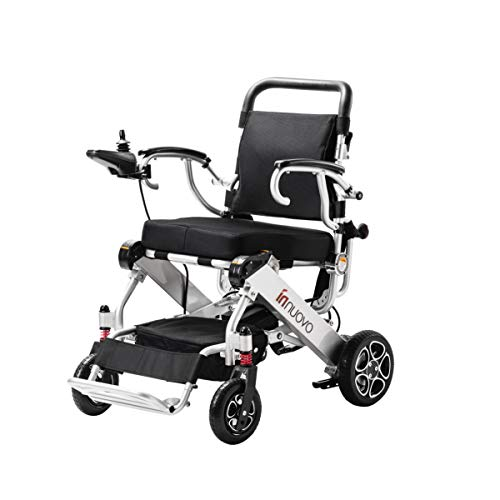 Innuovo Wide Seat Folding Electric Motorized Wheelchair for Adults, Lightweight Foldable Electric Wheelchair, Power Wheelchair, Portable Folding Carry Motorized Wheelchairs, Durable Wheelchair