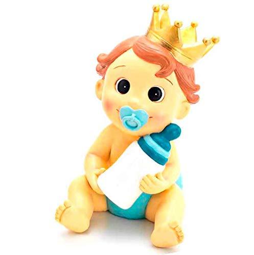 Muñeco para la tarta figura bebé niño con corona y biberón, para bautizo o BABY SHOWER. Hucha.