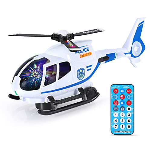 ELE ELEOPTION Airplane Toy with Infrared Remote Control Plane Toys Helicopter with Lights and Music for 3 4 5 6 7 8 Year Old Kids Toddlers Boys Girls Gift White