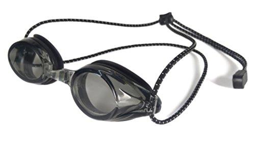 Resurge Sports Anti Fog Racing Swimming Goggles with Quick Adjust Bungee Strap (black)