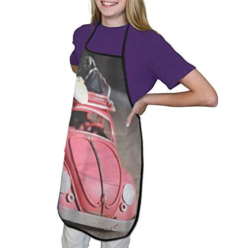 Pink Volkswagen Käfer Scale Modell auf brauner Oberfläche Kinderschürze mit Taschen Arbeitskleidung für kleine Köche im Kinderhandwerk Kochen Malertraining, Schwarz , m