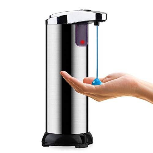 Automatischer Seifenspender, SANBLOGAN Infrarot Sensor Seifenspender Edelstahl Touchless Seifenspender mit Wasserfeste Basis Einstellbare Schalter für Küche Bad Restaurant Büro Hotel 250ML