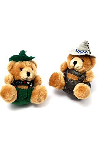 Bavariashop Jodelbär als Schlüsselanhänger, in grün oder braun, jodelnder Bär mit Lederhose und Hut.