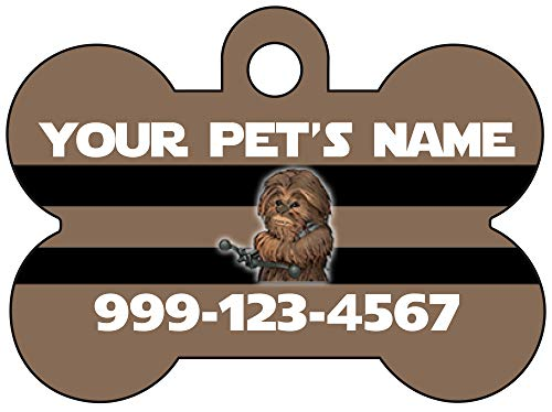 uDesignUSA Disney Star Wars Chewbacca Pet Id Tag for Dogs & Cats Personalized w/Your Pet's Name & Number