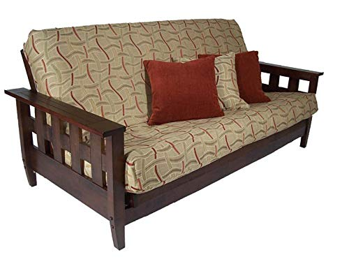 Best Deals! Strata Furniture Lambton Dark Cherry Queen Wall Hugger Futon Frame (Pre-Built)