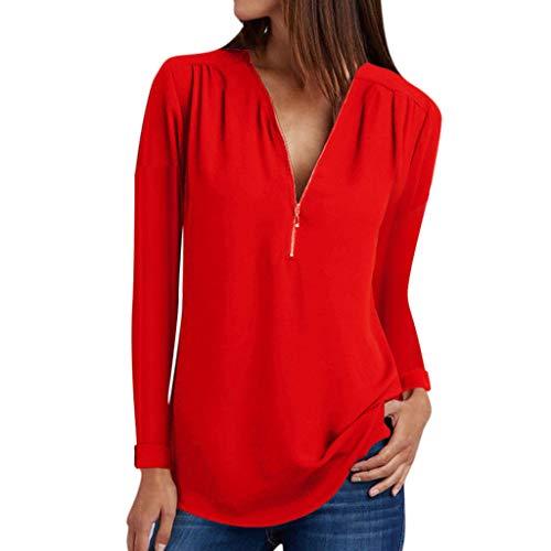 ESAILQ Damen in Trend-Farben aus 100{80c4d4d0c0fadeb99875ddb216ad46f6c92e2e48bccc78abac3282e2fcdf6c88} Baumwolle, auch in Übergrößen, längeres Shirt für drüber und drunter (L,Rot)