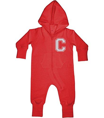 Grenouillère bébé garçon et bébé personnalisé avec nom et Initiale - Rouge - 6-12 mois