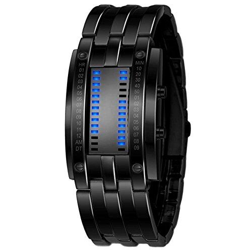 Cutogain Herren-Armbanduhr, LED, digital, Sport-Armbanduhr, Matrix, wasserdicht, multifunktional, modisches Geschenk, Herren, Schwarz