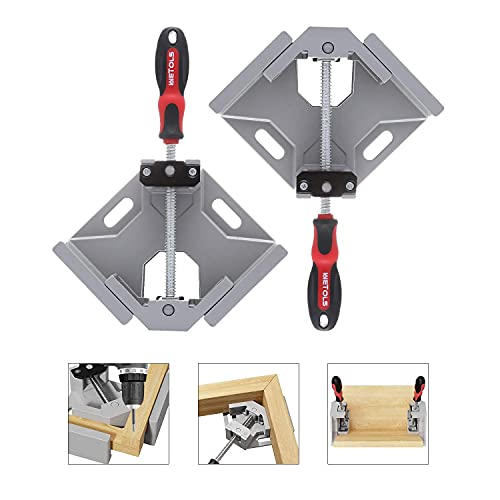 WETOLS Angle Clamp 2pcs - 90 Degree Right Angle Clamp - Single Handle Corner Clamp with Adjustable Swing Jaw Aluminum Alloy for Woodworking, Photo Framing, Welding and Framing - WE706