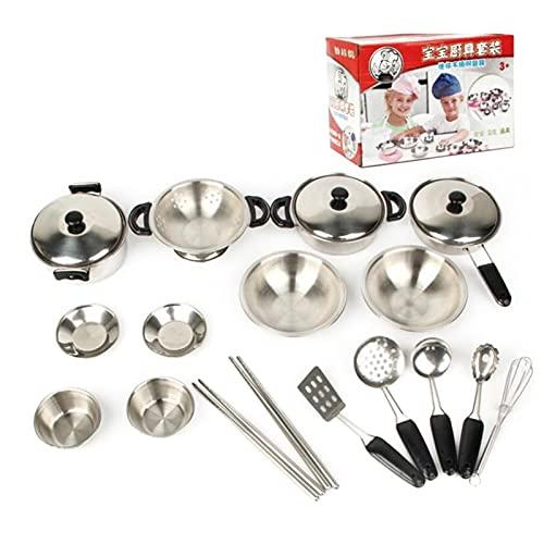 Beifeng Juego de utensilios de cocina y vajilla de simulación de acero inoxidable Juego de rol para niños Mini juguetes de cocina