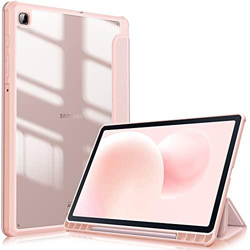 FINTIE Custodia per Samsung Galaxy Tab S6 Lite 10.4'' SM-P610/ P615 2020 con S Pen Holder, Antiurto Sottile Case Posteriore Trasparente Cover con Auto Sonno/Sveglia, (Oro Rosa)