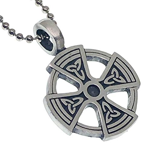 Norse Viking Jewelry Celtic Triquetra Solar Cross Sun-wheel Medieval Pewter Men's Pendant Necklace Medallion Protection Amulet Safe Travel Warrior Talisman Lucky Charm for men w Silver Ball Chain