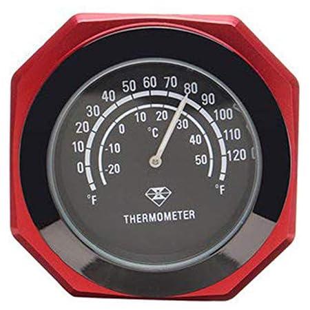 Motorrad Lenkerhalterung Nachtleuchtende Thermometer Uhr Leuchtende Legierung Temperatur Temperaturanzeige Wasserdicht Für Harley Bike Rot Auto