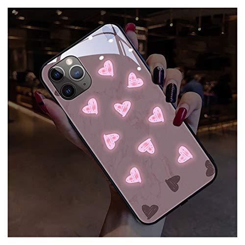BLWX Funda para iPhone 11/12 / XR/X, Call Flash Light Up Vidrio Templado luminiscente Protección contra caídas Funda a Prueba de Golpes, Compatible con iPhone 6/7 / 8