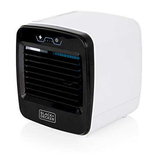 BLACK+DECKER BXAC65004GB Portable Mini Air Cooler, Humidifier, Air Purifier and Cooling Fan, 3 Speed Settings and 600 ML Water Tank, Soft Touch Controls, 6 W, Black