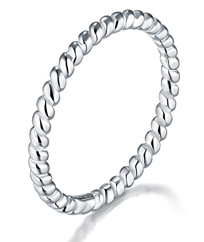 BORUO 925 Sterling Silver Ring, Twisted Eternity Band Stackable Rings 2mm Size 8